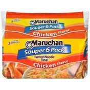 Maruchan Souper 6 Pack Chicken Flavor Ramen Noodle Soup