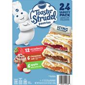 Pillsbury Pastries, Apple/Cinnamon Roll/Strawberry, 24 Variety Pack