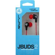 JLab Signature Earbuds, JBuds 2, Blaze Red