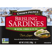 Crown Prince Sardines, in Extra Virgin Olive Oil, Brisling, Two Layer
