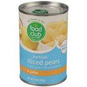 Food Club Bartlett Sliced Pears In Pear Juice From Concentrate