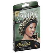 Evolve Satin Bonnet, Luxe, Cheetah, Black, Reversible