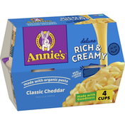 Annie's Deluxe Cheddar Shells, Classic Cheddar Mac & Cheese Microwavable, 4 Cups