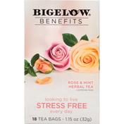 Bigelow Benefits Stress Free Rose & Mint Herbal Tea