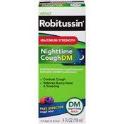 Robitussin Syrup Adult DM Nighttime Max Maximum Strength Liquid Cough Suppressant/Antihistamine