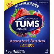 Tums Antacid, Ultra Strength 1000, Chewable Tablets, Assorted Berries