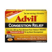 Advil Congestion Relief Non-Drowsy Coated Tablets - 10 CT.