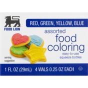 Food Lion Food Coloring, Assorted, Squeeze Bottles, Box
