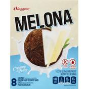 Melona Dessert Bars, Frozen Dairy, Coconut, 8 Pack