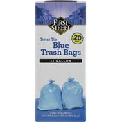First Street Trash Bags, Blue, Twist Tie, 33 Gallon