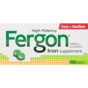 Fergon Iron Supplement, High Potency, Tablets