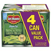 Del Monte Green Beans, French Style, 4 Can Value Pack