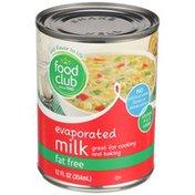 Food Club Milk, Fat Free, Evaporated
