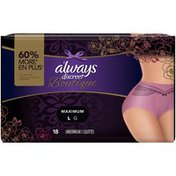 Always Discreet Boutique, Incontinence Underwear, Maximum Protection, Large Always Discreet Boutique, Incontinence Underwear for Women, Maximum Protection,