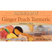 Bigelow Ginger Peach Turmeric Herbal Tea,Tea Bags