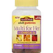 Nature Made Multi for Her, Plus Omega-3s, Gummies, Lemon, Orange & Strawberry