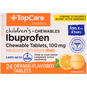 TopCare Children'S Ibuprofen 100 Mg Pain Reliever/Fever Reducer (Nsaid) Chewable Tablets, Orange
