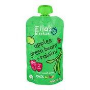 Ella's Kitchen Super Smooth Puree From 4 Months Apples, Green Beans + Raisins