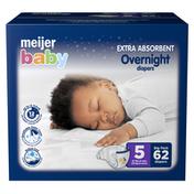 Meijer Premium Baby Overnight Diapers Size 5