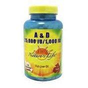 Nature's Life A & D 25,000 IU/1,000 IU Fish Liver Oil softgels
