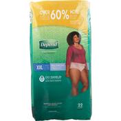 Depend Incontinence Underwear for Women, Maximum Absorbency, XXL, Blush