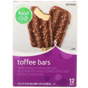 Food Club Toffee Flavored Ice Cream Bars With Milk Chocolate Flavored Coating & Toffee Candy