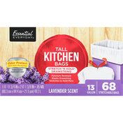 Essential Everyday Tall Kitchen Bags, Stretch 'N Hold Drawstring, Lavender Scent, 13 Gallon