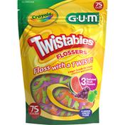 GUM Flossers, Crayola, Twistables, Fluoride Coated, 3 Fruit