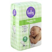 Baby Basics Diapers, NB (Up to 10 lb), Flexible Fit
