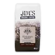 Jim's Organic Coffee Italian Roast, Very Dark Roast, Whole Bean Coffee