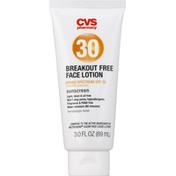 CVS Pharmacy Sunscreen, Lotion, Breakout Free Face, Broad Spectrum SPF 30