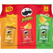 Pringles Potato Crisps, Cheddar Cheese/Original/Sour Cream & Onion, 36 Pack