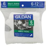 Gildan Socks, Ankle, White, 6-12, Men's