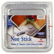 Handi-Foil Pans & Lids, Cake, Non-Stick, Square, 8 Inch