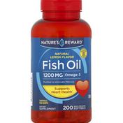 Nature's Reward Fish Oil, 1200 mg, Natural Lemon Flavor, Quick Release Softgels