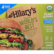 Hilary's Veggie Burgers, Organic, World's Best, 4 Pack