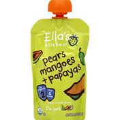 Ella's Kitchen Puree, Super Smooth, Pears Mangoes + Papayas, 2 (from 6 Months)