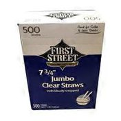 """First Street 7 3/4 """" Jumbo Wrapped Clear Straw"""