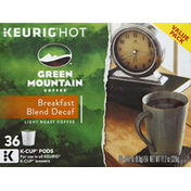 Green Mountain Coffee, Light Roast, Breakfast Blend, Decaf, K-Cup Pods, Value Pack