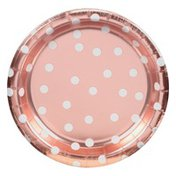 Amscan Plates, Met Confetti Dot Rose Gold, 6.75 Inch