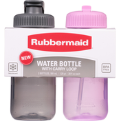 Rubbermaid Water Bottle, Cool Grey/Orchid, 20 Fluid Ounce
