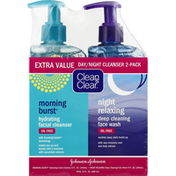 Clean & Clear Day/Night Cleanser, Extra Value, 2-Pack