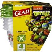Glad Nickelodeon Teenage Mutant Ninja Turtles Small Round Snack Size Containers