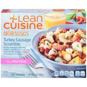 Lean Cuisine Mornings Turkey sausage with egg whites, roasted red potatoes, reduced fat cheddar cheese, red peppers & onions Turkey Sausage Scramble