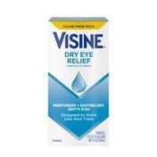 Visine Dry Eye Relief Lubricant Eye Drops, Pack Of 2, Twin Pack
