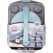 GoodCook Cupcake Pan and Stand Set, Bake-Take-Serve, 12 Cup
