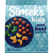 Simek's 1/4 ounce mini meatballs for kids. Free from preservative, artificial colors and artificial flavors.