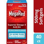 MegaRed 500mg Extra Strength Omega-3 Krill Oil -  Krill Oil No fishy aftertaste