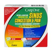 CareOne Daytime & Nighttime Sinus Congestion & Pain Relief Caplets