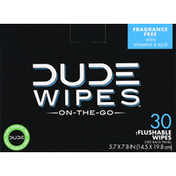 Dude Wipes Flushable Wipes, Fragrance Free, On-The-Go